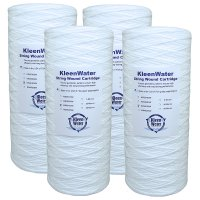 Four 4.5 x 10 Inch String Wound Dirt/Sediment Water Filter Cartridges